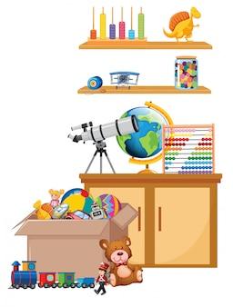 Scène met speelgoed op de plank en in de doos