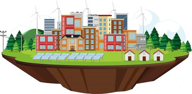 Scène met stad en schone energie in het veld