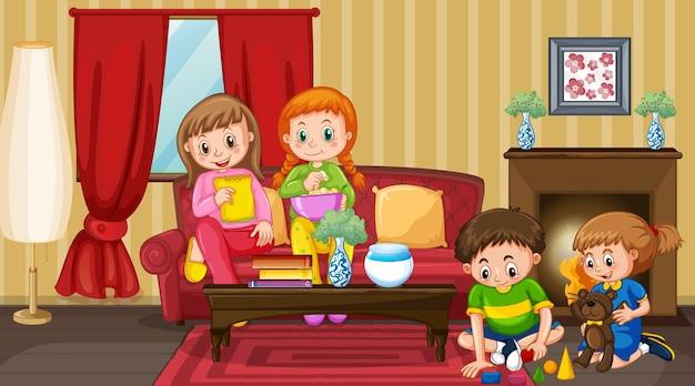 Scène met stripfiguur voor kinderen in de kamer