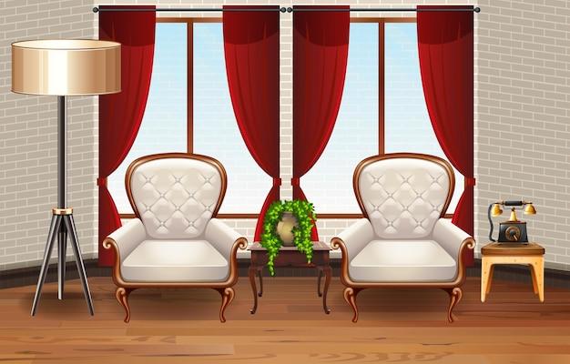 Scène met twee fauteuils in de kamer