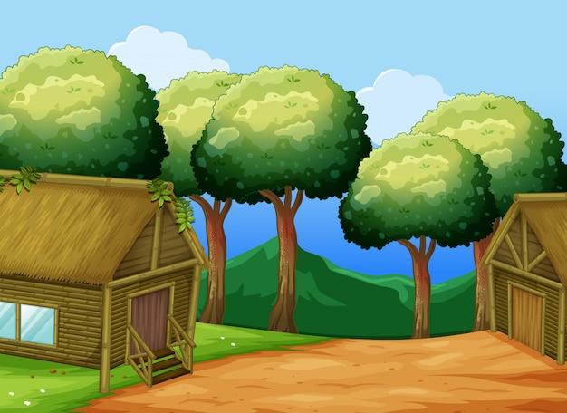 Scène met twee houten huisjesillustratie