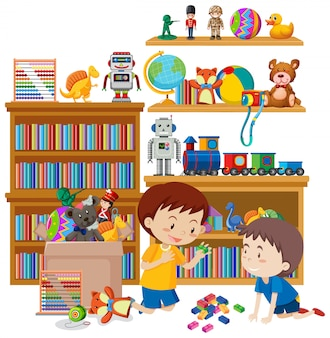 Scène met twee jongens die speelgoed in de ruimte spelen