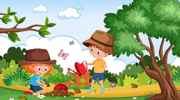 Scène met twee kinderen die radijs planten in de tuin