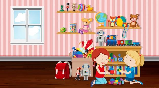 Scène met twee meisjes spelen in de kamer