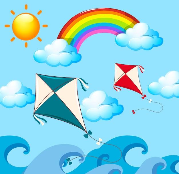 Scène met twee vliegers en regenboog