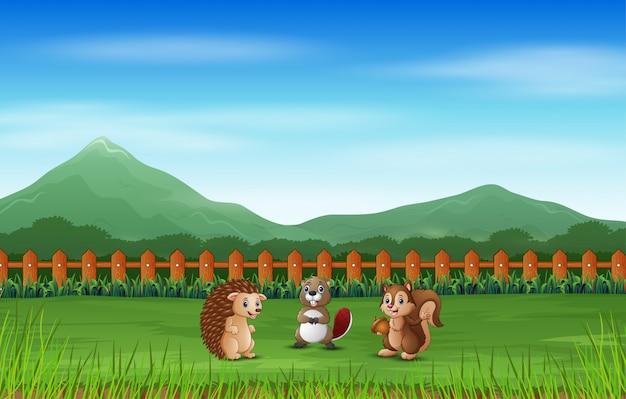 Scène met veel dieren in het groene veld