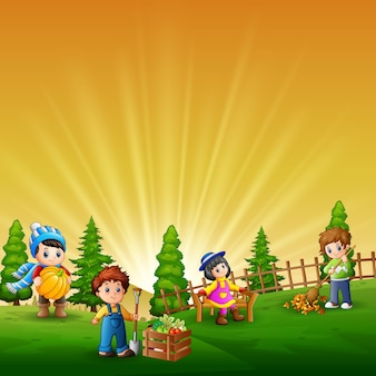 Scène met veel kinderen die op de boerderij werken