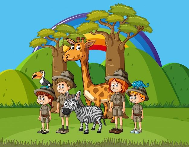 Scène met veel kinderen en dieren in het park