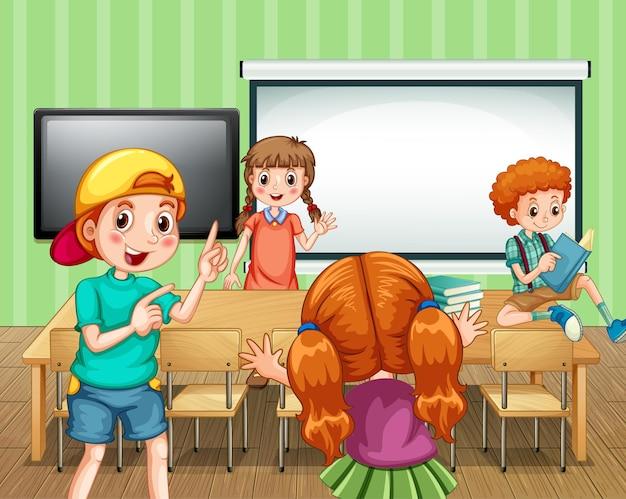 Scène met veel kinderen in de klas