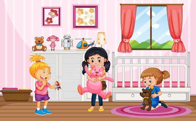 Scène met veel kinderen in de roze kamer