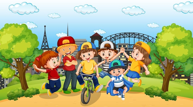 Scène met veel kinderen in het park