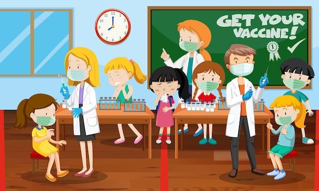 Scène met veel kinderen krijgt covid-19-vaccin en veel stripfiguren van artsen