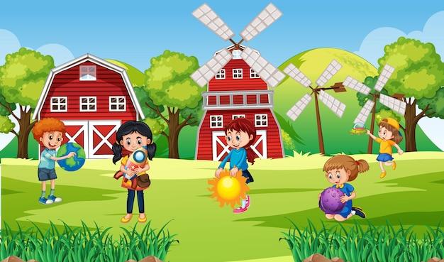 Scène met veel kinderen op de boerderij