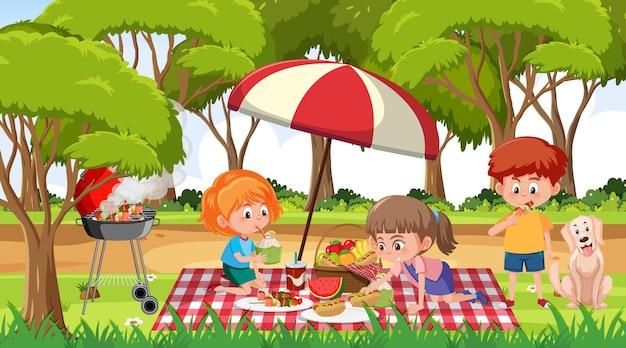 Scène met veel kinderen picknicken in het park