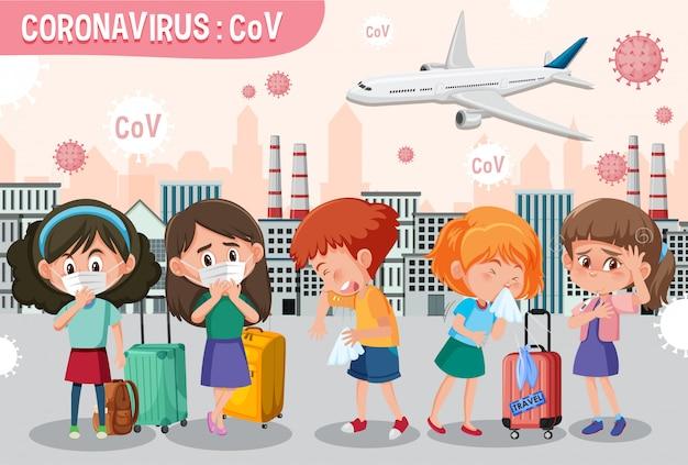 Scène met veel mensen die ziek worden van het coronavirus