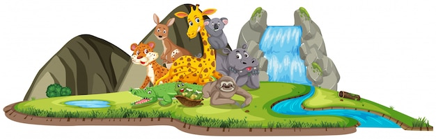 Scène met veel wilde dieren bij de waterval