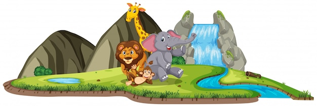 Scène met veel wilde dieren door de waterval op wit