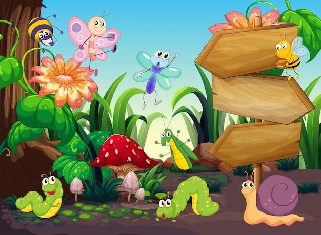 Scène met verschillende soorten bugs