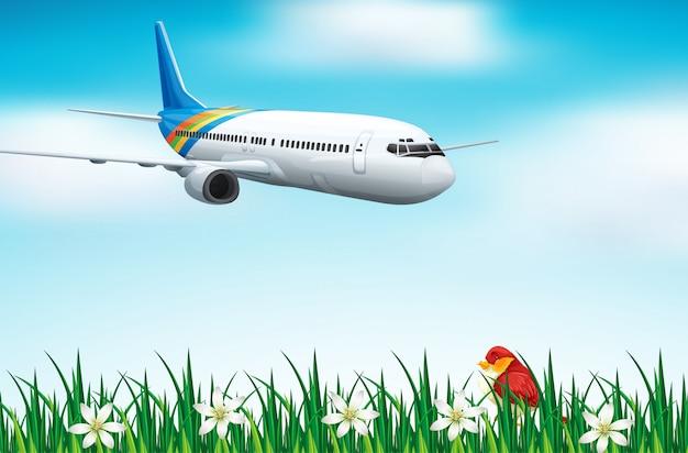 Scène met vliegtuig dat in blauwe hemel vliegt
