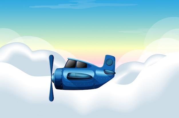 Scène met vliegtuig dat in de hemel vliegt