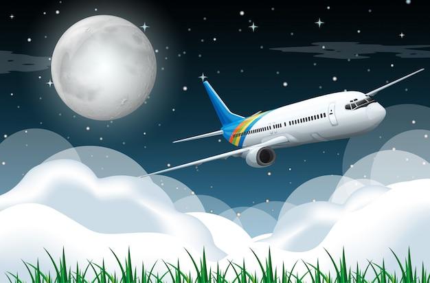 Scène met vliegtuig dat in de nacht vliegt