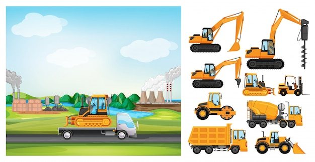 Scène met vrachtwagens op de weg en vele soorten vrachtwagens