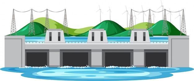 Scène met waterdam en turbines op de heuvels