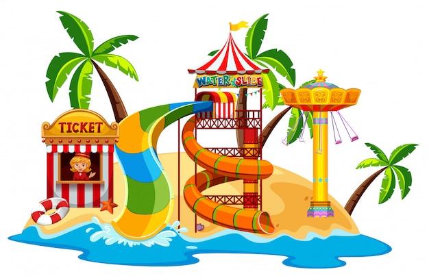 Scène met waterglijbaan en schommel aan het strand