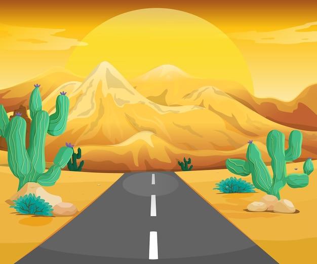 Scène met weg in de woestijn