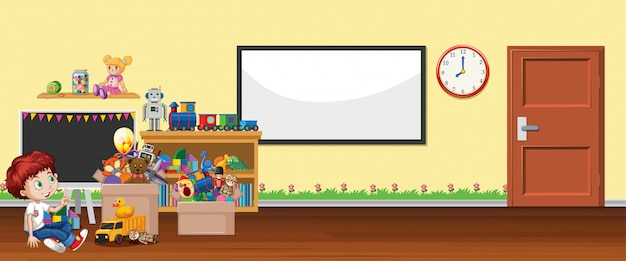 Scène met whiteboard en speelgoed