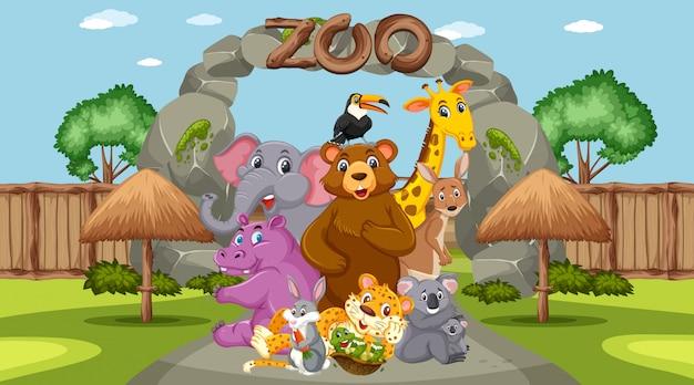 Scène met wilde dieren in de dierentuin overdag