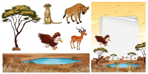 Scène met wilde dieren in de savanne