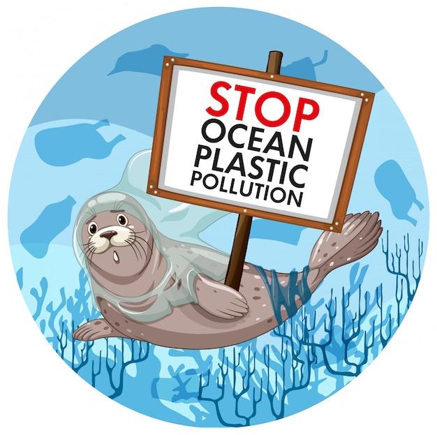 Scène met zeehondenholding houdt plastic vervuiling tegen