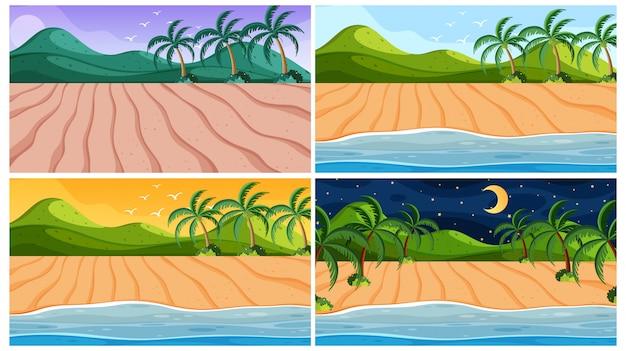 Scène oceaan op verschillende tijdstippen