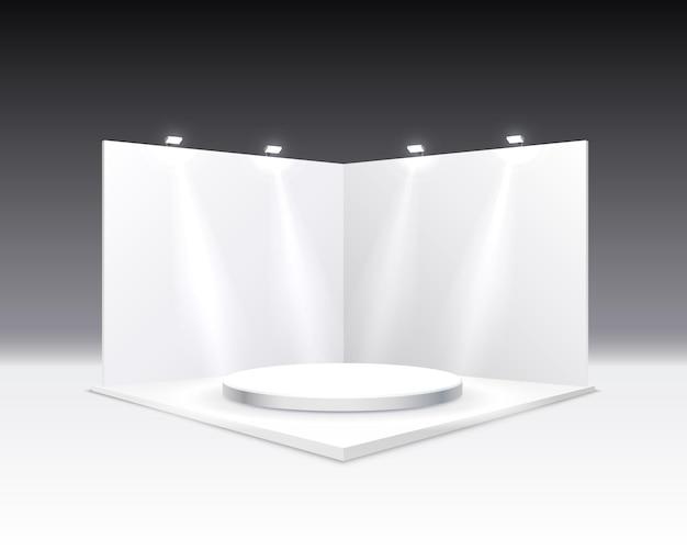 Scène presentaties bord, tafel wit display.