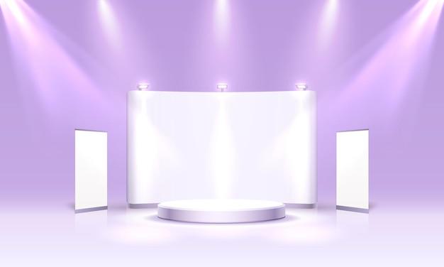 Scene show podium voor presentaties op de paarse achtergrond. vector illustratie