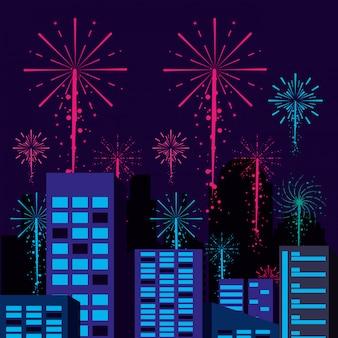 Scène stadsgezicht met vuurwerk