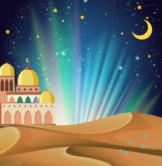 Scène van arabische nacht met gebouwen en woestijn