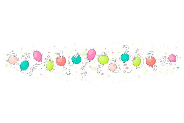 Scène van arbeiders met ballonnen