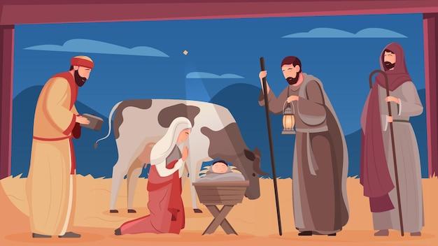 Scène van de geboorte van jezus christus in een houten kribbe vlakke afbeelding
