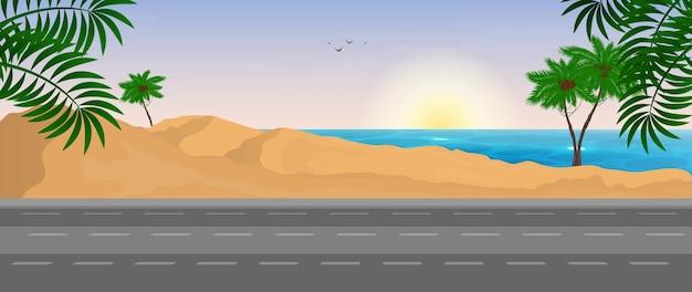 Scène van de weg naar de zee