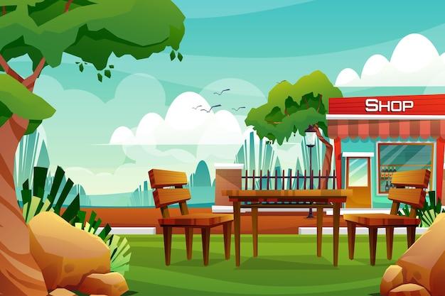 Scène van drankwinkel op straat aan de voorkant van het hek in de buurt van natuurpark in de stad