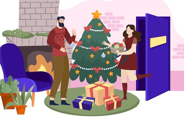 Scène van familie de mooie kerstmis binnen