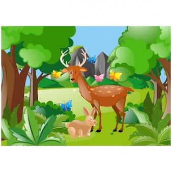 Scène van herten en konijnen in het bos