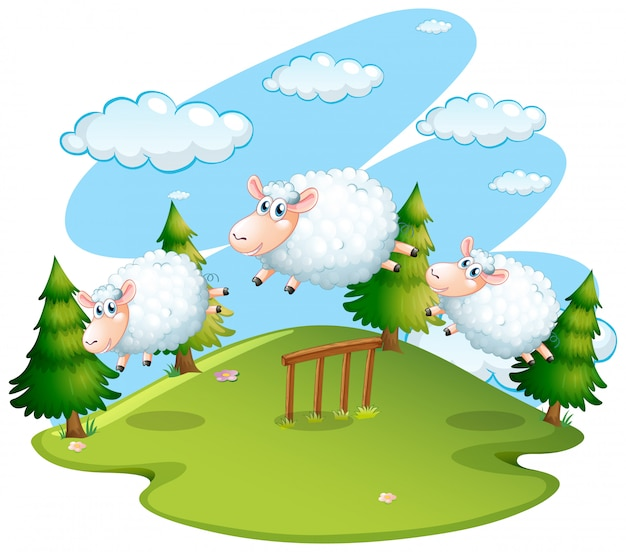 Scène van het veld met springende schapen