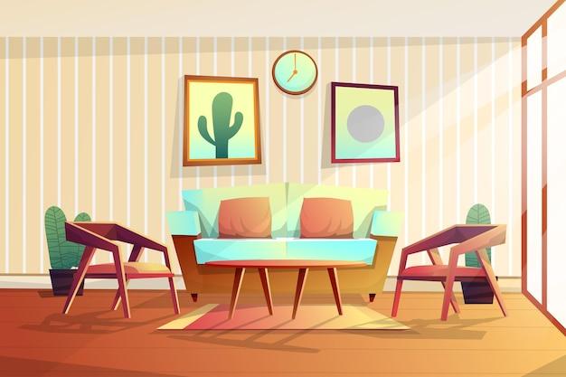 Scène van ingericht in woonkamer met bank en stoel, klok met fotolijst aan de muur