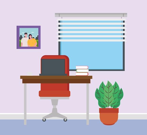 Scène van interieur kantoor in huis.