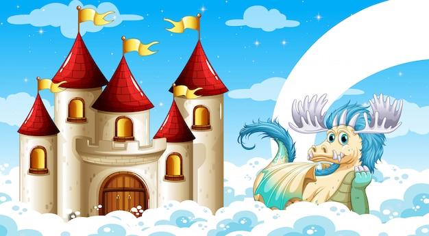 Scène van kasteel en draak