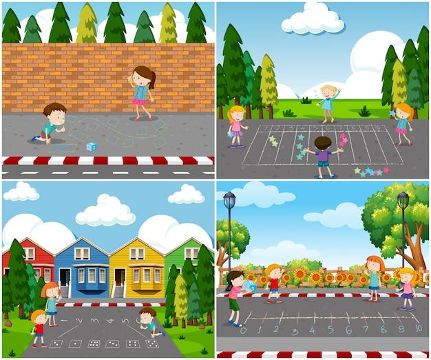 Scène van kinderen buiten spelen Premium Vector