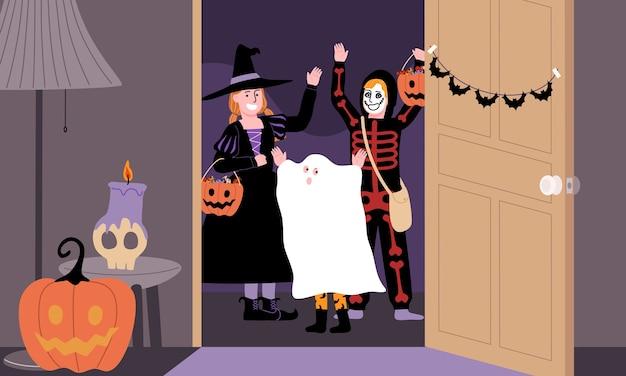 Scène van kinderen in griezelig kostuum spelen trick or treat in halloween-dag